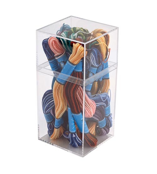 Tall Square Clear Plastic Box
