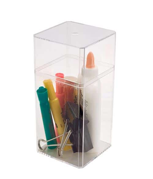 Large Tall Square Clear Plastic Box