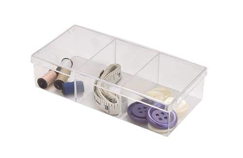Clear Square Plastic Container with Dividers
