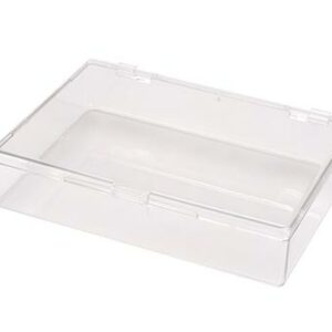 Square Hinged Plastic Box w/Snap Closure Lid