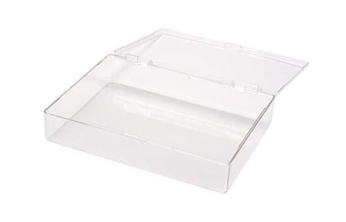 Square Hinged Plastic Box w/Snap Closure Lid