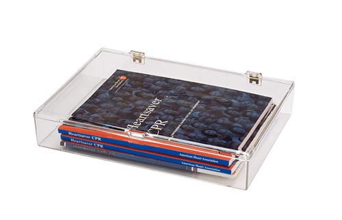 Square Hinged Plastic Container with Snap Closure